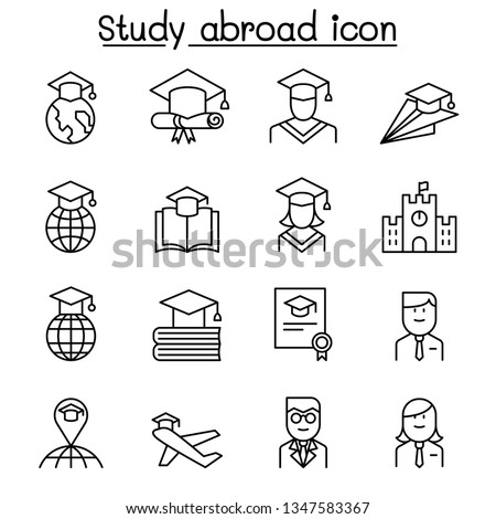 Study abroad icon set in thin line style