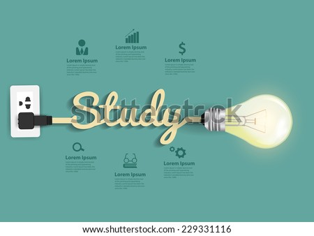 Study concept modern design template, Light bulb idea abstract infographic workflow layout, diagram, step up options, Vector illustration