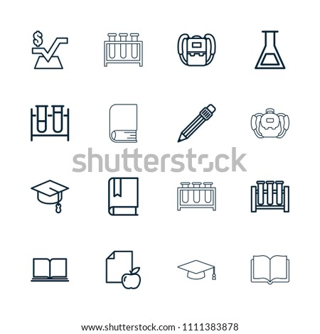 Study icon. collection of 16 study outline icons such as backpack, mathematical square, book, paper and apple, test tube, pen. editable study icons for web and mobile.