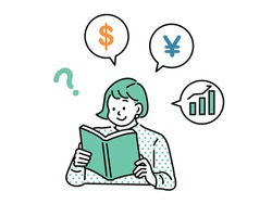Study illustrations related to money . tax, tax saving, stocks, investment, savings, assets, future, FX, bitcoin