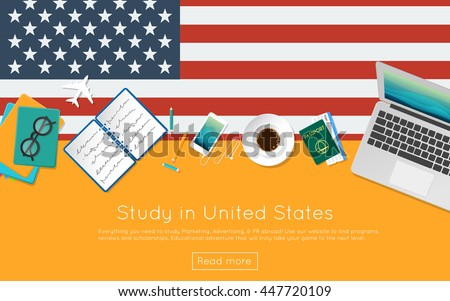 Study in United States concept for your web banner or print materials. Top view of a laptop, books and coffee cup on national flag. Flat style study abroad website header.