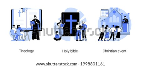 Study of god abstract concept vector illustration set. Theology and holy bible, christian event, theological lectures, sunday school, church priest, sunday mass, pilgrimage abstract metaphor. Stock photo ©