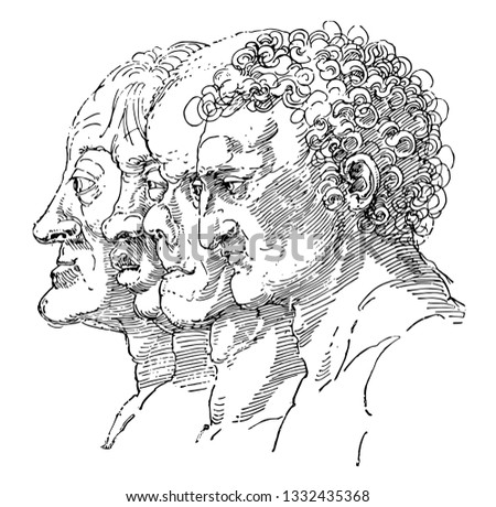 Study of the Varieties of Facial Types by German artist Albrecht Dürer, personality from a person's outer appearance, central in the expression of emotion, vintage line drawing or illustration.