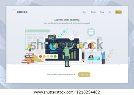 Study, online monitoring. Scientific research in digital marketing, media planning, business monitoring, analysis of indicators. Tracking development trend. Landing page template. Vector illustration.