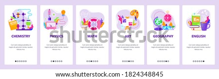 Study school education subjects chemistry, physics, math, art, geography, english. Mobile app screens. Vector banner template for website and mobile development. Web site design illustration. Foto stock ©