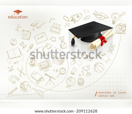 Studying and education, infographics vector