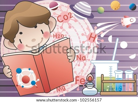 Studying Boy with happy smile - Scientist of the future with laboratory equipments and  phases of the moon with beautiful galaxy on violet background : vector illustration