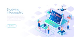 Studying infographic isometric landing page vector template. Business data analytics website homepage UI illustration layout. Market development dynamics research web banner isometry concept