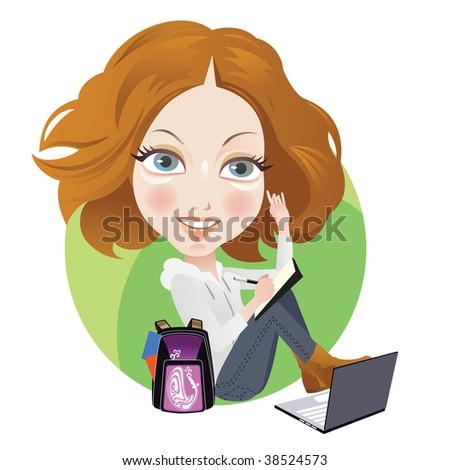Studying Schoolgirl