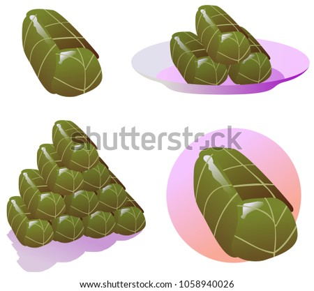 Stuffed Grape Leaves. A Food that commonly eaten by Muslims during Iftar Ramadan Kareem, Eid El Fitr. For icon stock, magazine, cover, poster, banner, explainer video etc.
