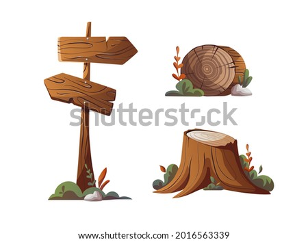 Stump, log and guidepost. Camping, traveling, trip, hiking, camper, nature, journey, campsite elements. Isolated vector illustration. Stock photo ©