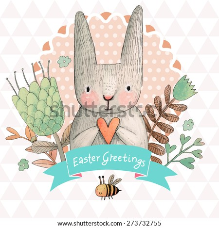 Stunning card with cute Rabbit and small bee in summer flowers. Awesome background made in watercolor technique. Bright easter concept card with text in ribbon in vector