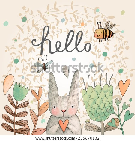 stunning card with cute rabbit