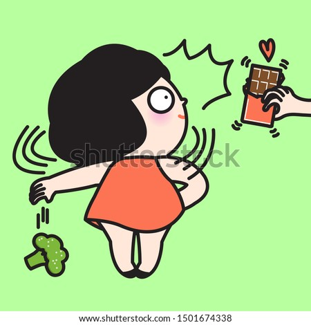 Stunning Girl Excited To See Chocolate Bar In Someone's Hands While Throwing Healthy Broccoli Vegetable Away Concept Card Character illustration