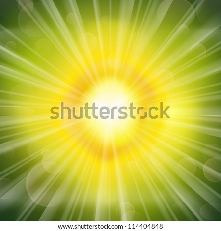 Stunning green glow radiating rays background. Vector illustration