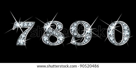 Stunningly beautiful 7, 8, 9 and 0 set in diamonds and silver. Vector