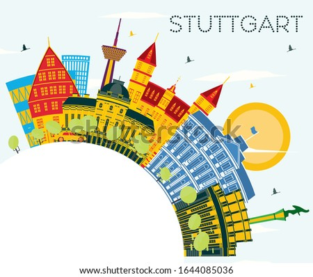 Stuttgart Germany City Skyline with Color Buildings, Blue Sky and Copy Space. Vector Illustration. Business Travel and Tourism Concept with Historic Architecture. Stuttgart Cityscape with Landmarks.