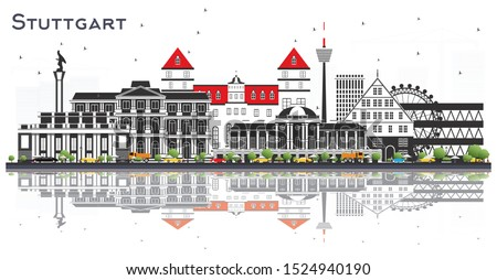 Stuttgart Germany Skyline with Color Buildings and Reflections Isolated on White. Vector Illustration. Business Travel and Tourism Concept with Historic Architecture. Stuttgart Cityscape with Landmark