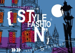 STYLE and FASHION word cloud concept at a background of Prague. Vector illustration