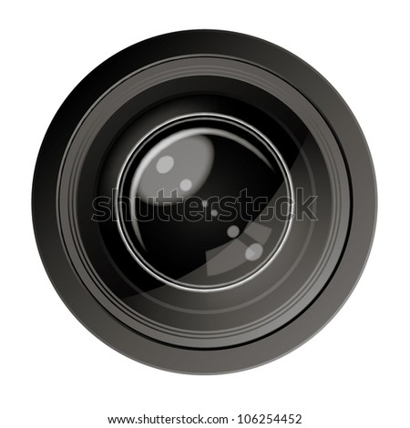Style Camera. Vector illustration of photo lens. Includes black and white colors.