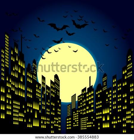 style cartoon night city