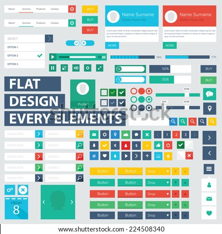 style flat ui kit design