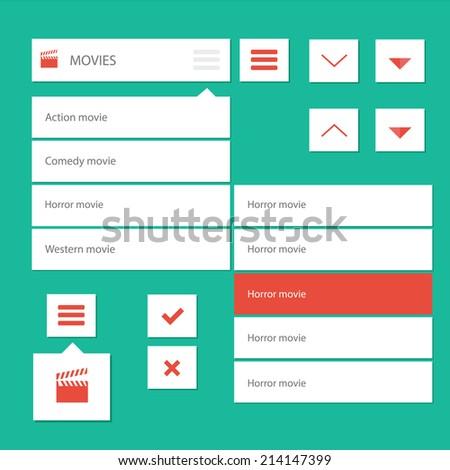 Style flat ui kit design menu bar for movie web design with drop down menu and icons / Flat ui kit design menu bar for movie website