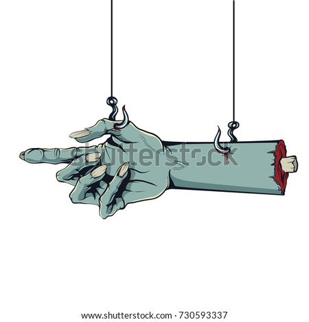 style of a comic Zombie hand hanging on hooks
