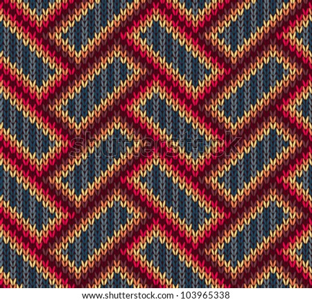 Style Seamless Brown Red Blue Yellow Color Knitted  Ornament Pattern