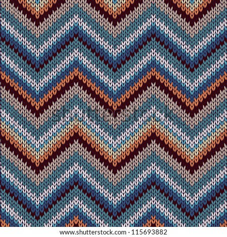 Style Seamless Knitted Pattern. Blue Brown White Orange Color Illustration from my large Collection of Samples of knitted Fabrics