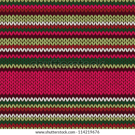 Style Seamless Knitted Pattern. Red Pink Green White Color Illustration from my large Collection of Samples of knitted Fabrics