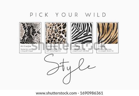 style slogan with wild animal skins illustration for fashion print Foto stock ©
