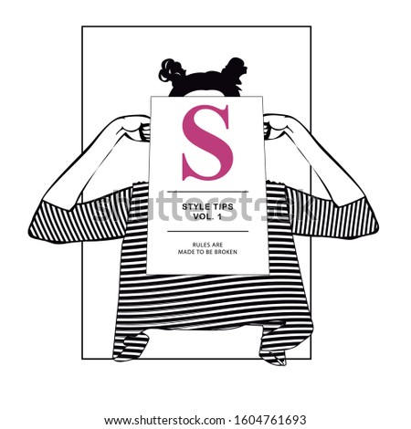Style Tips Vol.1 Rules are mad to broken Girl Black And White Fashion T-shirt Print Stock fotó ©