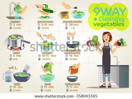 Style vegetables are cooking, cook the infographic.