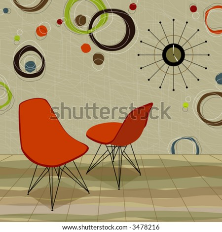Stylinu0027 Retro Home With Orange Chairs And A Cool Retro Clock. Easy Edit