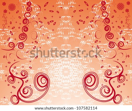 stylish abstract background of winter with curling branches and various elements. vector illustration
