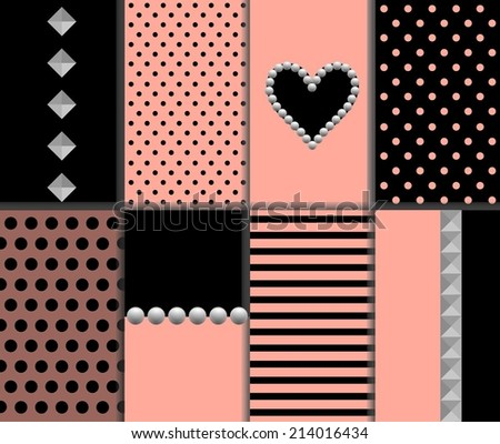 Stylish Abstract Romantic Vector Patterns