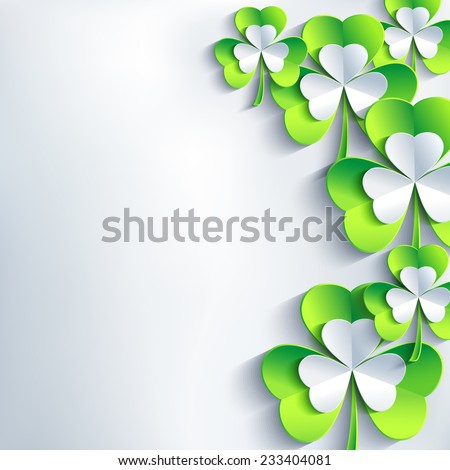 Stylish abstract St. Patrick's day card with grey and green 3d leaf clover. Trendy spring background. Beautiful St. Patrick day wallpaper. Vector illustration
