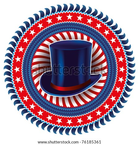 Stylish american label with top hat. Vector illustration.