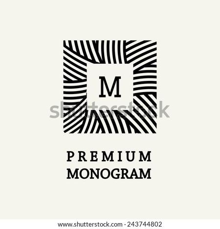 Stylish and graceful floral monogram design , Elegant line art logo design, vector template ストックフォト ©