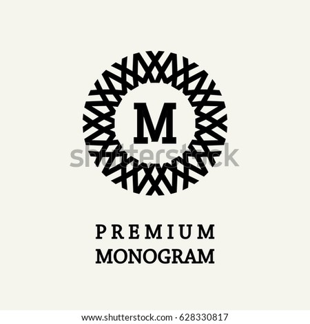 Stylish and graceful floral monogram design , Elegant line art logo , vector template.