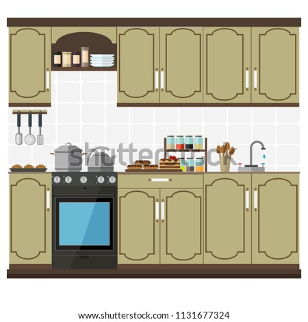 Stylish and modern kitchen with cabinets and shelves. Set of kitchen furniture and utensils. Vector illustration.
