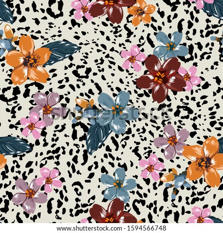 Stylish animal skin prints layer on with liberty small flowers seamless pattern soft safari mood ,Design for fashion,fabric,wallpaper,wrapping and all prints