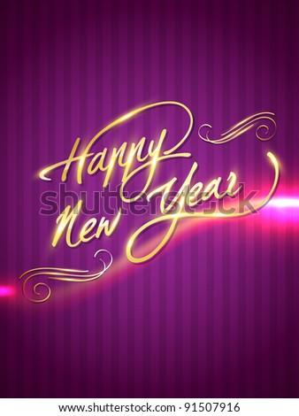 stylish artistic golden shiny happy new year illustration