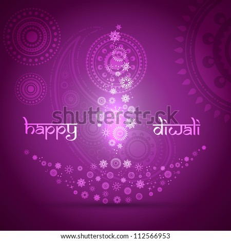 stylish artistic happy diwali vector background design - stock vector
