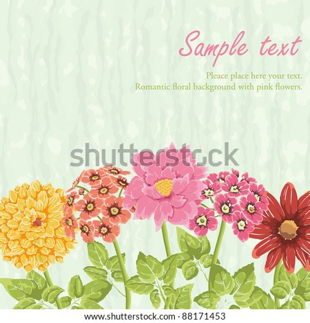 stock vector Stylish background with hand drawn flowers and place for text