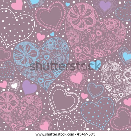 Stylish background with hearts in vector