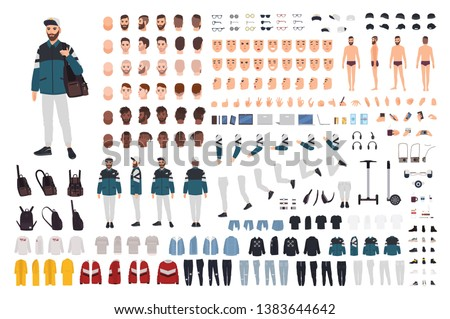 Stylish bearded man in trendy street style outfit DIY kit. Bundle of body parts, casual clothes, hairstyles, accessories. Male cartoon character. Front, side, back views. Flat vector illustration.