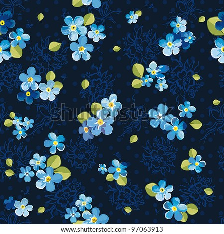 Stylish beautiful floral seamless pattern. Abstract Elegance vector illustration texture with forget-me-not.