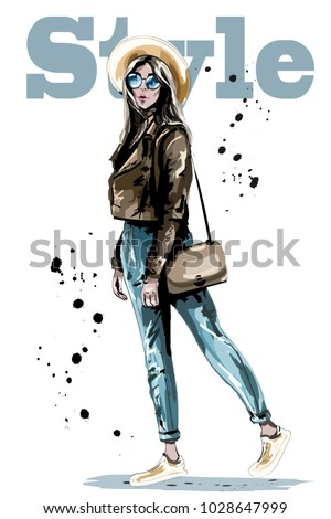 Stylish beautiful young woman in hat. Fashion woman in sunglasses. Sketch. Hand drawn girl with bag. Vector illustration.